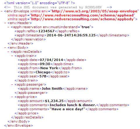 Sample XML produced by the Redvers COBOL XML Interface